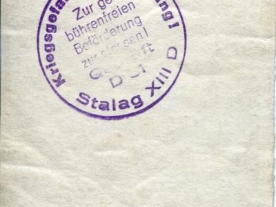 Pieczęć Stalagu na odwrocie poprzedniego zdjęcia