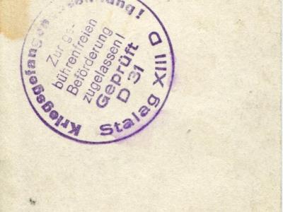 Pieczątka Stalagu na odwrocie poprzedniego zdjęcia
