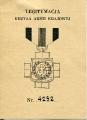 Okładka legitymacji Krzyża AK nr 4252