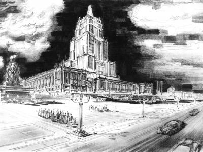 Wizja Pałacu Kultury i Placu Defilad, 1950. Rys. Jan Knothe