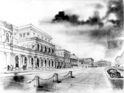 Plac Bankowy, 1951. Rys. Zygmunt Stępiński
