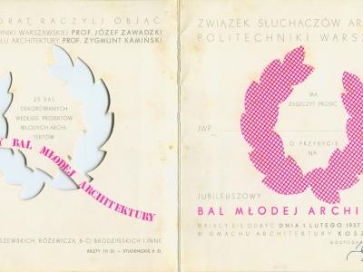 Zaproszenie na Bal Młodej Architektury, 1937