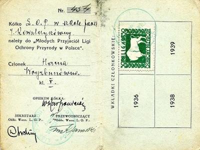 Legitymacja Ligi Ochrony Przyrody, 1937
