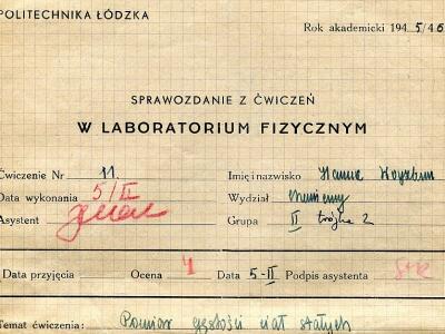 Sprawozdanie z ćwiczeń, 1946