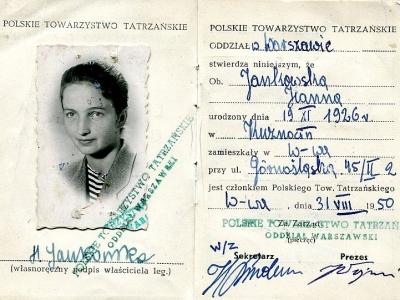 Legitymacja Polskiego Towarzystwa Tatrzańskiego, 1950