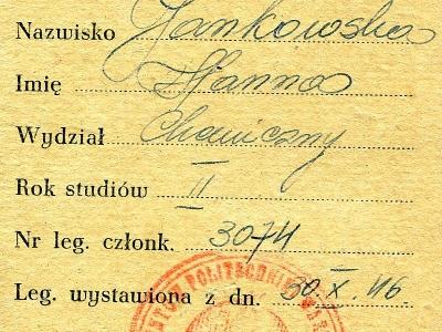 Karta przydziałowa Towarzystwa Bratniej Pomocy Studentów Politechniki Warszawskiej, 1946