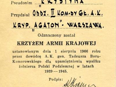 Legitymacja Krzyża Armii Krajowej