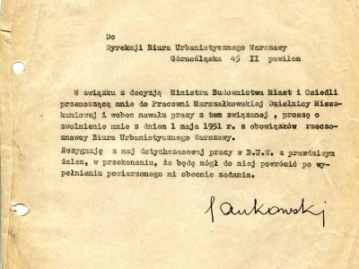 Rezygnacja SJ z obowiązków rzeczoznawcy BUW, 1951