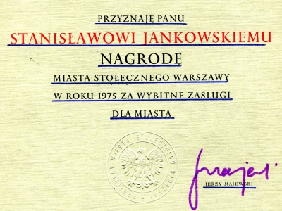 Dyplom Nagrody m. st. Warszawy, 1975