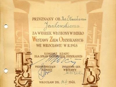 Dyplom Wystawy Ziem Odzyskanych, Wrocław 1948