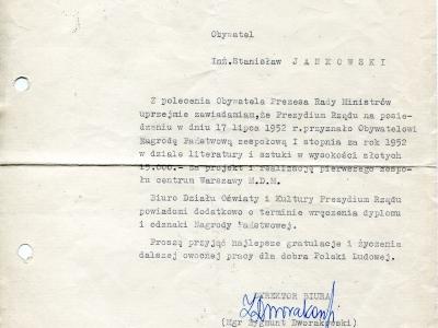 Zawiadomienie o przyznaniu Nagrody Państwowej, 1952