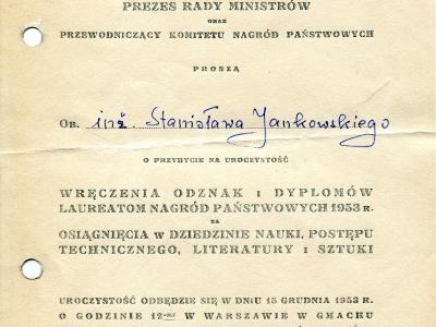 Zaproszenie na uroczystość wręczenia nagród państwowych, 1953