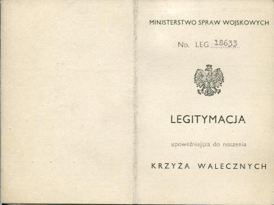 Okładka legitymacji Krzyża Walecznych
