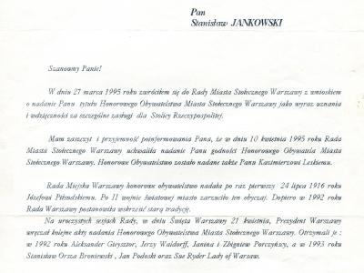 List zawiadamiający o nadaniu SJ Honorowego Obywatelstwa m. st. Warszawy