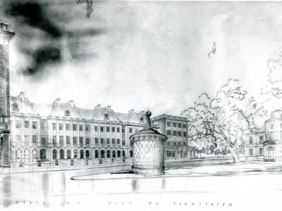Plac na Tłomackiem. Rys. Zygmunt Stępiński