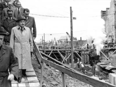 Bolesław Bierut na budowie Trasy W-Z, 1948